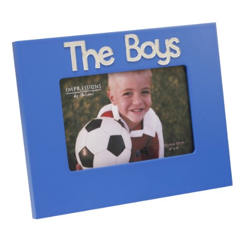 The Boys 4 X 6 Blue Photo Frame With Mirror 3d Letters
