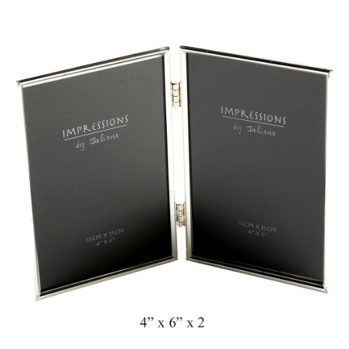 """IMPRESSIONS BY JULIANA SILVER DOUBLE PHOTO FRAME 4""""x6"""" 8173"""