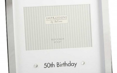 Silver Plated 50th Birthday Photo Frame 4×6″