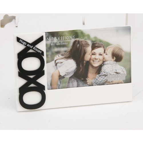 Girl Talk, 'XOXO' (Hugs & Kisses), 6″x4″, 3D Icons, white, photograph frame from the 'Impressions by Juliana' gift range. An ideal, fun gift for her (FW839).