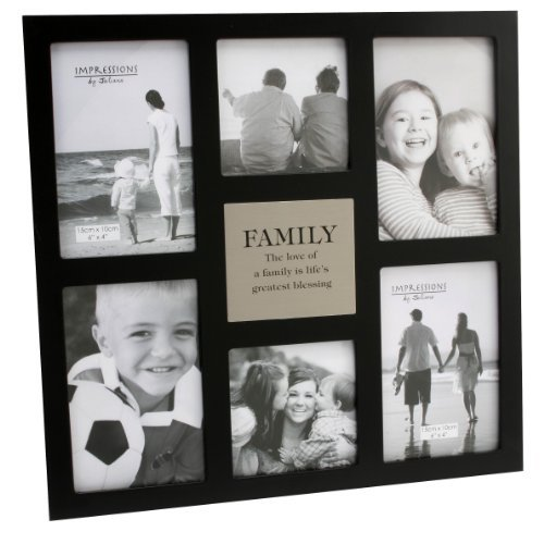 """Impressions MDF Multi Aperture Frame – 6 Pictures """"Family"""""""