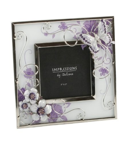 Butterfly and Crystal Flowers Purple/Silver Design Glass (3 x 3) Photo Frame