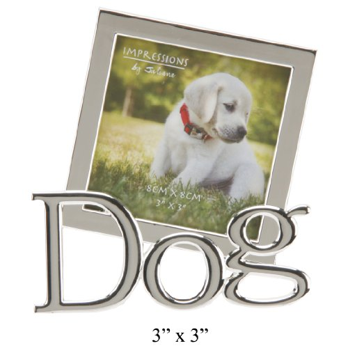 """'Impressions by Juliana', Silverplated, 'Dog,' tilted word, 3""""x3"""" photograph frame. An ideal gift for the dog lover (FS1165D)."""