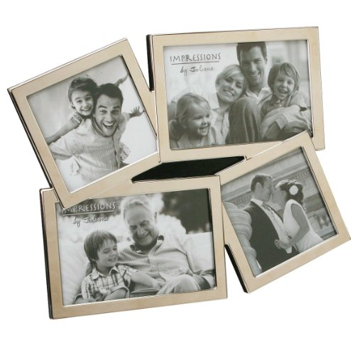 Impressions Modern Nickel Plated Multi 4 Photo Aperture Picture Frame