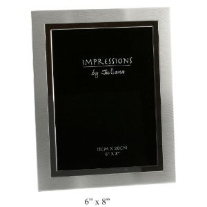 """Impressions By Juliana Brushed Metal Two Tone Silver Photo Frame 6""""x8"""""""
