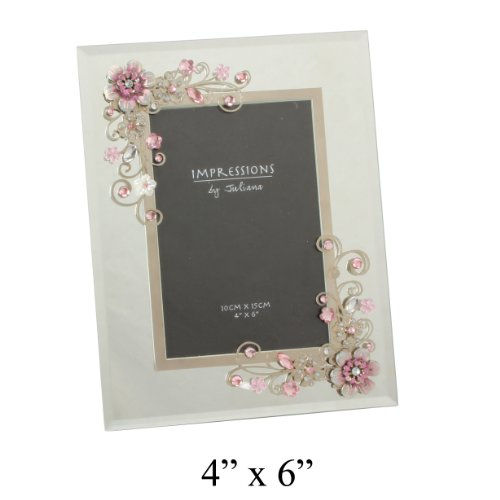 Impressions by Juliana Silver Mirror and Pink Flower Photo Frame 4″x6″ Picture