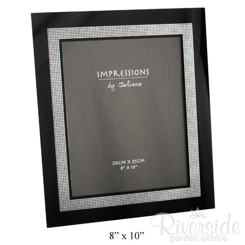 Impressions Modern Black and Silver Inner Edge Glass Photo Frame – For 8″x10″ Pictures