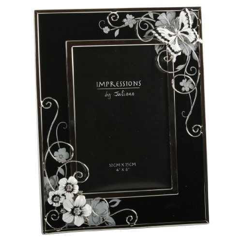 Butterfly and Crystal Flowers Black/Silver Design Glass (4 x 6) Photo Frame