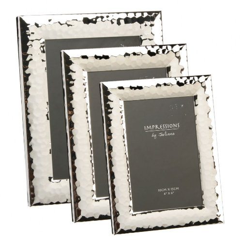 Impressions by Juliana – Shiny Hammered Finish Photo Frame – Silver