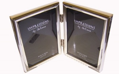 """IMPRESSIONS BY JULIANA SILVER DOUBLE PHOTO FRAME 3.5""""x5"""" FS427"""