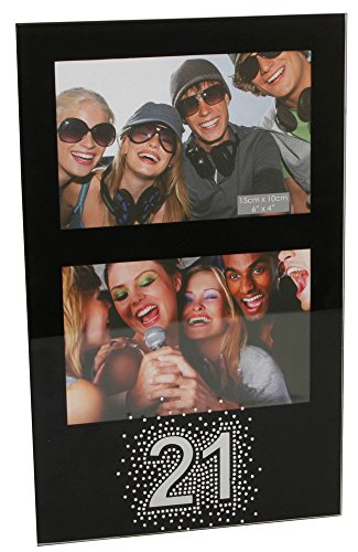 Modern and Stylish 21st Birthday Black Glass 4 X 6 Double Photo Frame By Haysom Interiors