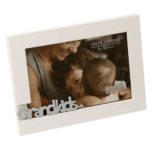 Grandkids 6″ x 4″ Cut Out Ivory Wooden Frame by Juliana FW924GK