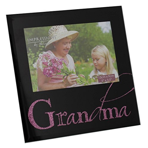 Grandma 5″ x 3.5″ Black Glass Photo Frame By Juliana Freestanding Frames Lovely Gift