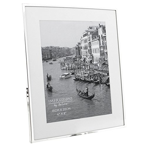 Impressions narrow silver plated 6″ x 8″ photo frame with white mount boarder