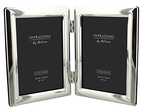 Silver Impressions Silver Plated Curved Edge Double Photo Frame 4×6 by Juliana