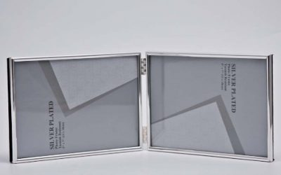 Double Silver Picture Photo Frame 3.5″ x 5″ Thin Edge (Landscape)