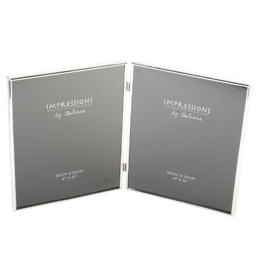 """Silverplated Double Hinged Collage Photograph Photo Frame Gift Keepsake 8″ x 10"""""""