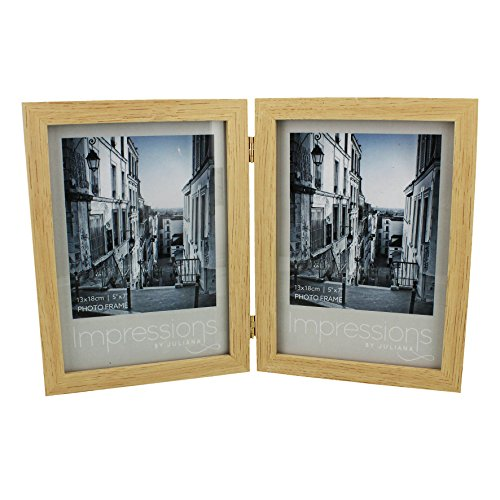 Impressions Natural Wood Double Hinged Portrait Photo Frame- 5X7 Inch Pictures